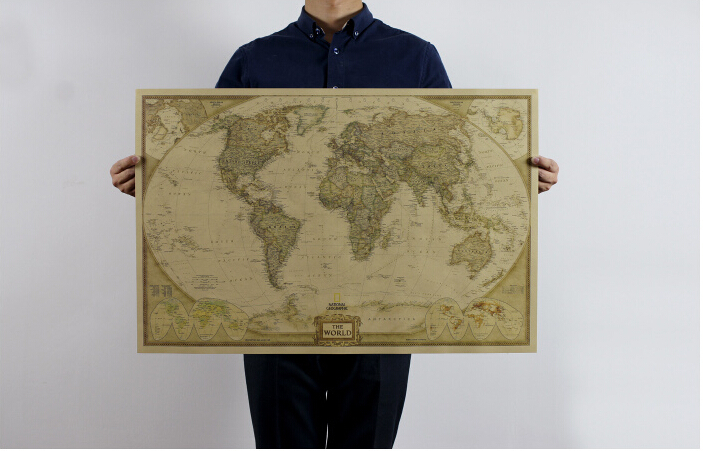73*48 cm Tabla Grande Retro Papel Kraft Mate World Map Poster etiqueta de La Par