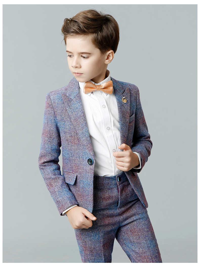 Wysokiej jakości Blazers Suits Zakup 4-14 T Chłopiec Dziecko zestawy Odzieżowe Żakiet + Spodnie + Kamizelki Kostiumy Dla Dzieci solidna Niebieski/Fioletowy Odzieży Dla Dzieci