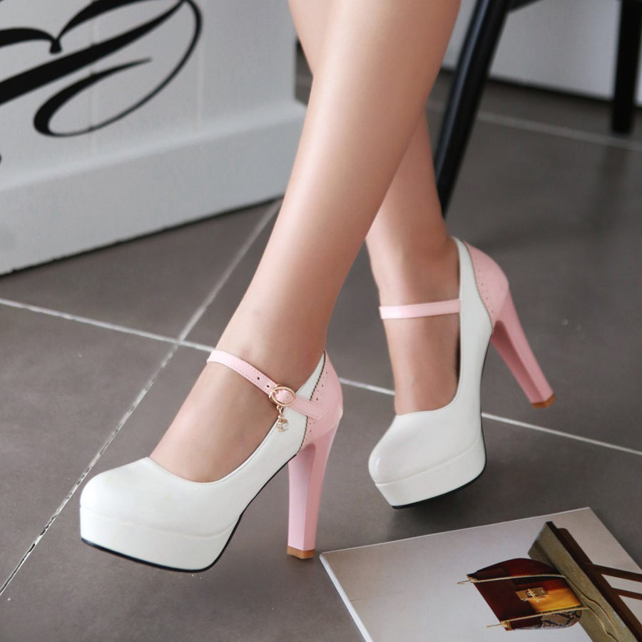 ФОТО Spring and autumn shoes sexy high-heeled shoes thick heel round toe hasp shallow mouth thick heel japanned leather female shoes
