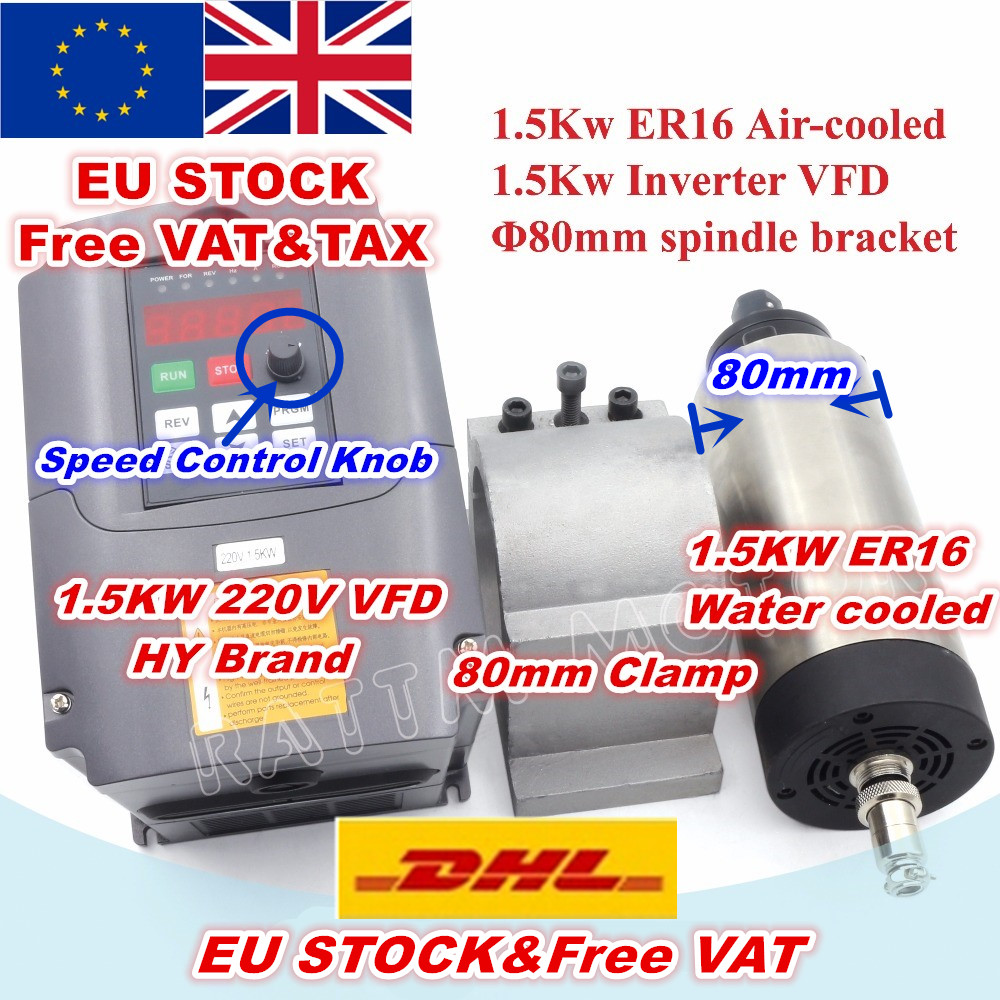 EU USA Delivery 1 5KW Air Cooled Spindle Motor ER16 220V 24000rpm 4 bearing 1