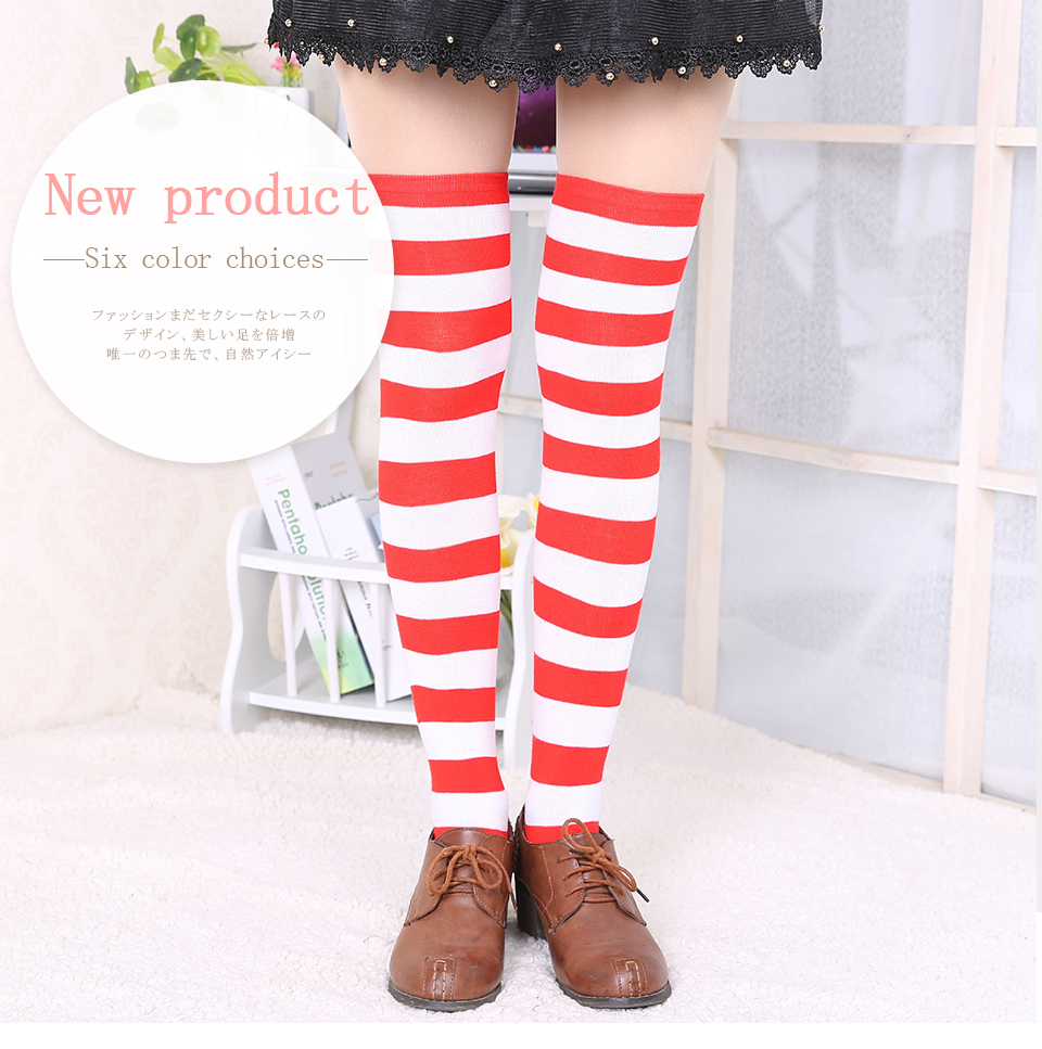 1Pair New Women's Over The Knee Large Size Stockings Sexy Thighs High Stripes Pattern Sock 6 Color Sweet Cute Warm Winter 2019 (1)