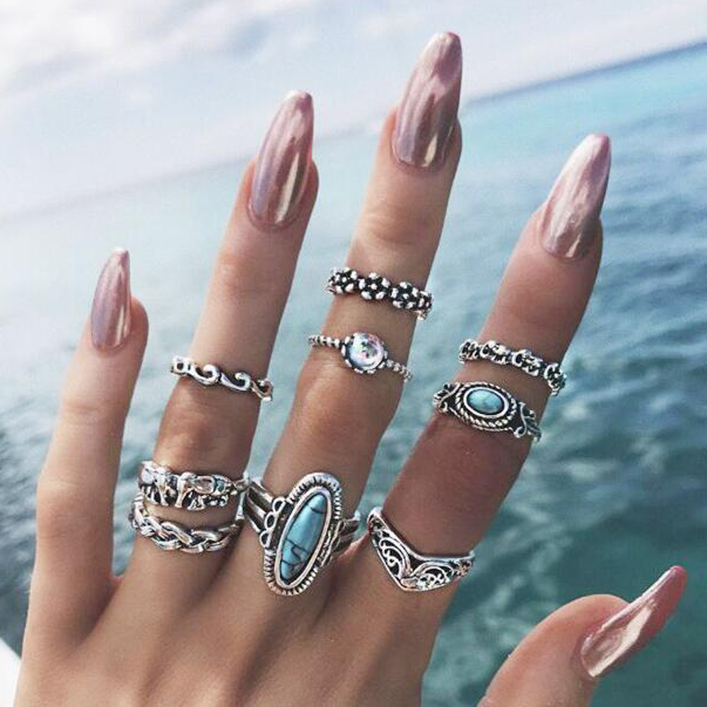 9pcs/Set Bohemia Antique Flower Elegant Spray Fashion Wedding Jewelry Silver Rings For Women Knuckle Finger Midi Ring Wholesale