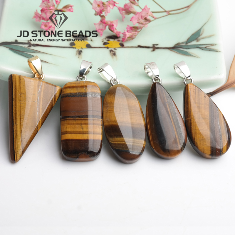 Free Shipping Natural Tiger Eyes Stone Pendant Semi-Finished Geometric Shape Of Natural Stone Pendant Necklace For Women And Men