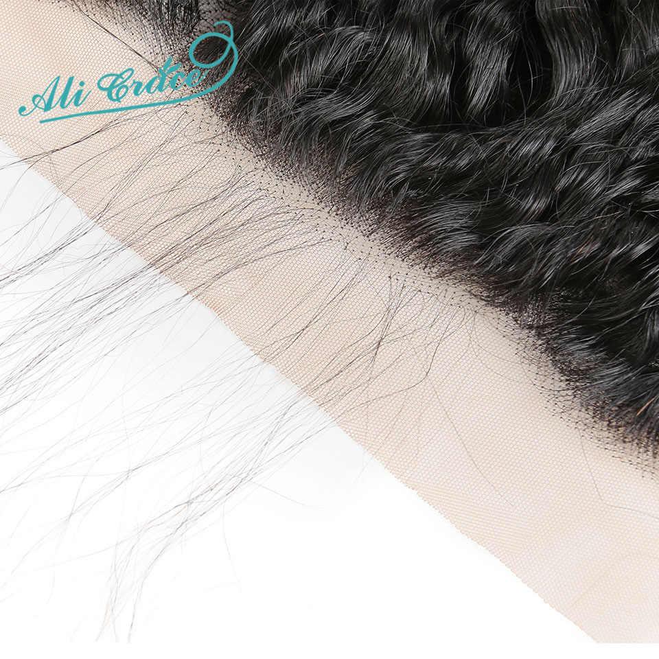 Ali graça cabelo brasileiro onda de água 3 pacotes com frontal 100% remy cabelo humano 13*4 parte do meio livre orelha a orelha rendas frontal