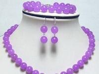 Women Gift word Love women Fashion Jewelry Genuine 10mm Purple Necklace +Bracelet +Earrng Set Fashion Jewelry Set Natural S