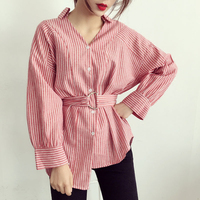 Women Stripe Sashes Shirt Fashion Casual Long Sleeve Shirts Bow Ruffle Tie Waist Slim Top Irregular