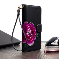 Hand painted flowers for iphone 8plus X 7plus 6sP rich models for women leather luxury design mobile phone case protective case