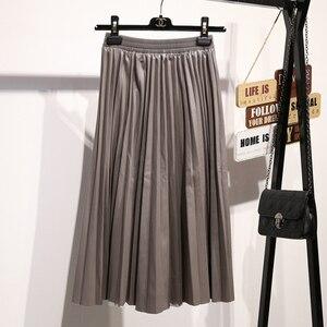 Image 3 - Surmiitro PU spódnica kobiety 2019 jesienno zimowa Midi długi koreański elegancki plisowana wysokiej talii skórzana spódnica kobiet linia spódnica biurowa