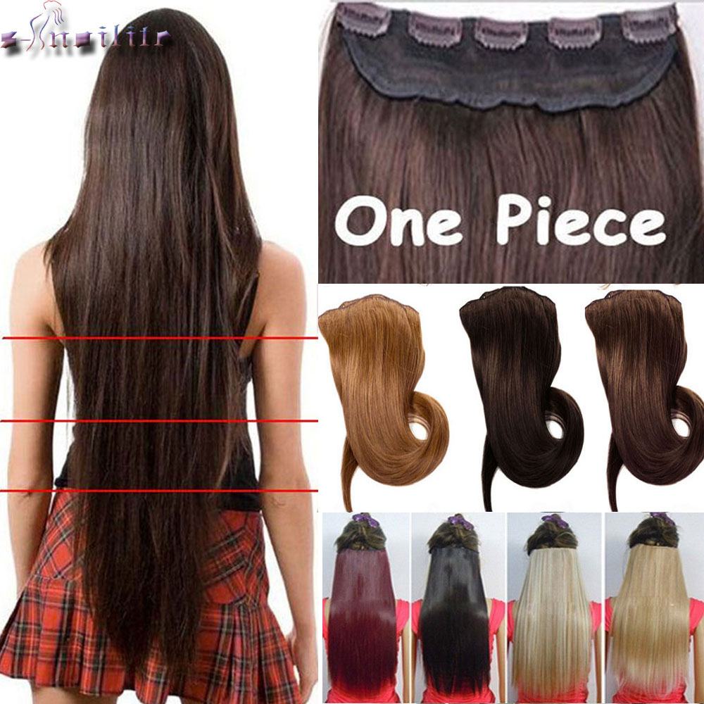S Noilite Long Women Clip In Hair Extensions One Piece 18 30 Inches