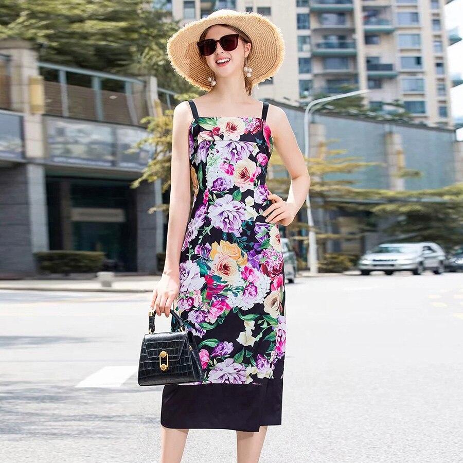 AELESEEN haute rue Style piste Design fleurs imprimé robes femmes été 2019 violet noir contraste couleur mi-mollet robe