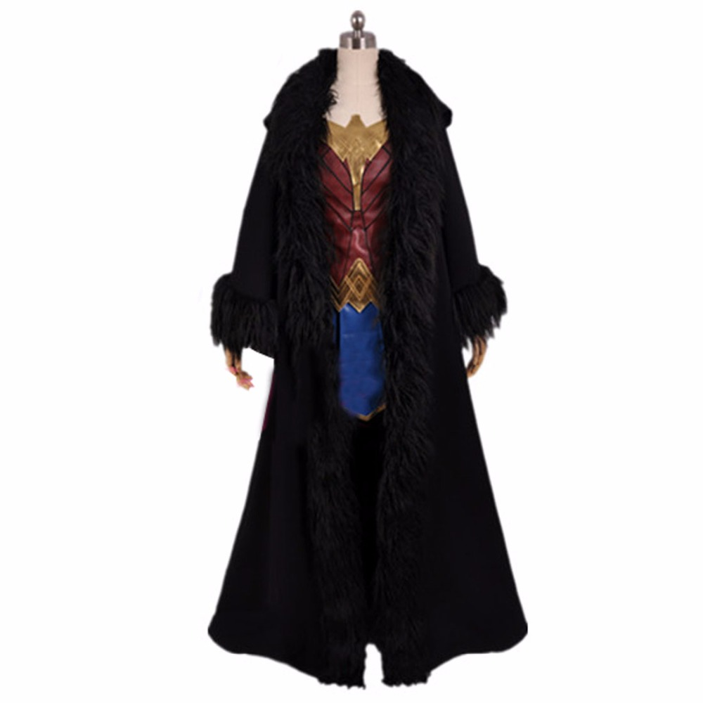 2018 Wonder Woman Cosplay Cloak Diana Prince Costume Black Cape Halloween Costume Movie Superhero Clothing Only Robe