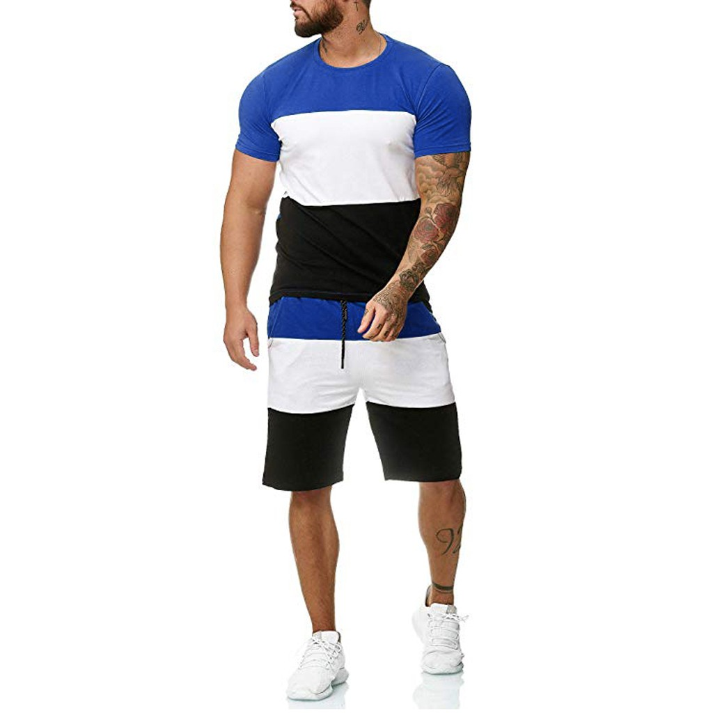 Mens 2 Piece Outfit Sport Set Short Sleeve Summer Leisure Casual Short Thin Sets Summer Leisure Casual Dark Blue Short Thin Sets