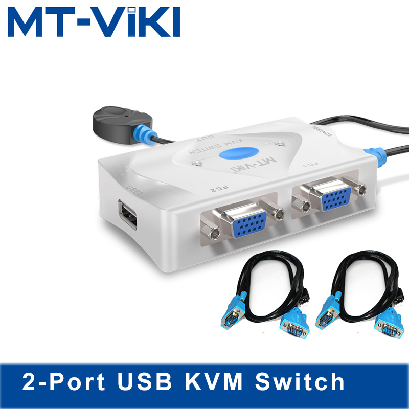 MT VIKI 2 Port KVM Switch 2 input 1 output VGA USB Hotkey Wired Remote Controller
