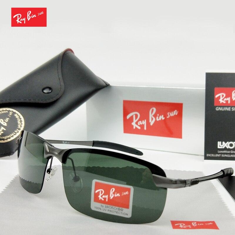 Ray Caixa óculos de sol óculos de Sol das Mulheres Dos Homens Marca óculos  polarizados Condução Óculos de Sol da moda do vintage quadrado Preto  esporte ... c180778be1