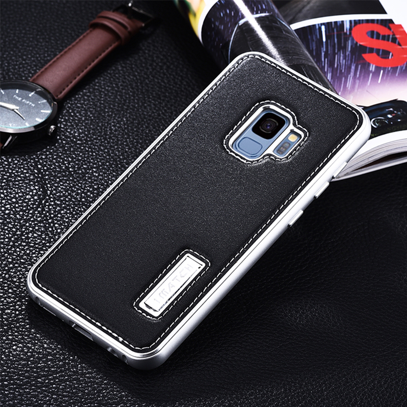 IMATCH Brand Case For Samsung Galaxy S9 / S9 Plus Luxury Shockproof Metal Bumper Genuine Leather Back Cover Case For Samsung S9