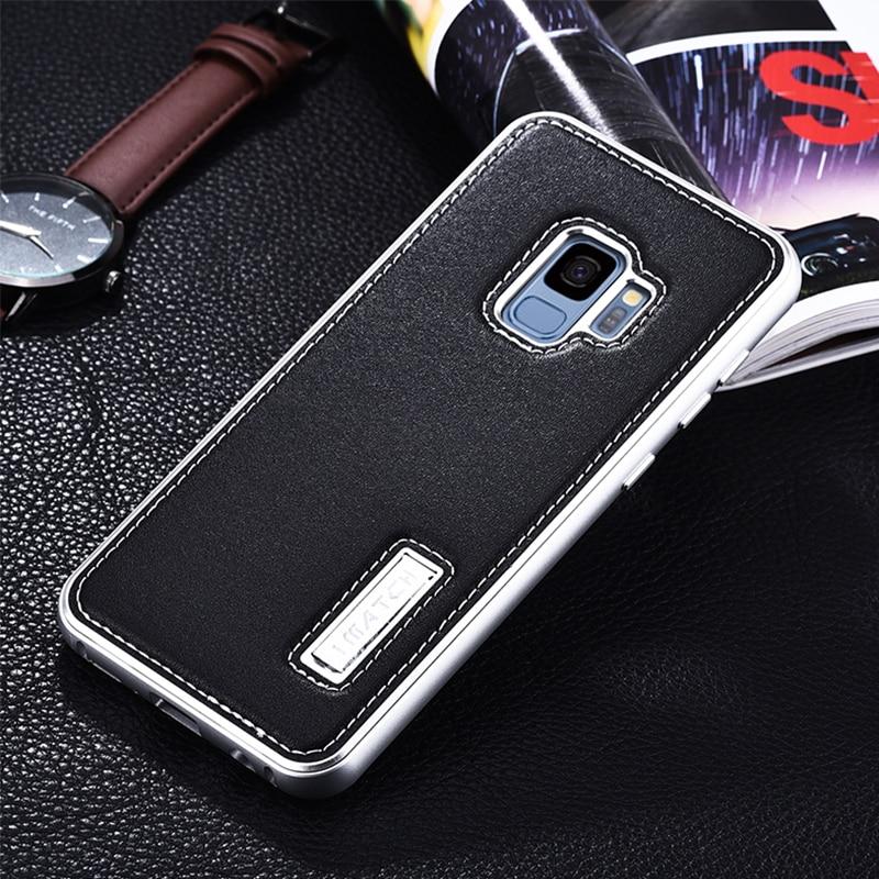 IMATCH Cas de la Marque Pour Samsung Galaxy S9/S9 Plus De Luxe antichoc Butoir En Métal Véritable En Cuir Cas de Couverture Arrière Pour Samsung S9