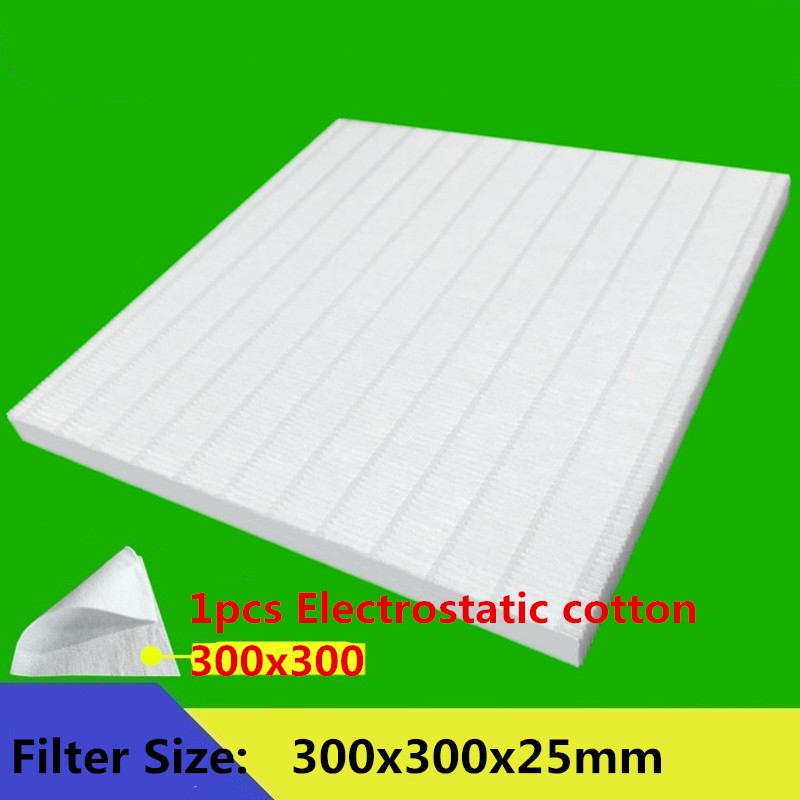 DIY Filter PM2.5 and Haze to Cleaning Home Air Purifier Parts 1pcs Hepa Filter 300X300 X25mm +1pcs Electrostatic cotton 304 242 5mm black filter cotton high efficiency to filter dust for ac4025 ac4026 air purifier parts to cleaning home
