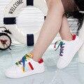 2016 Nueva Moda Arco Iris de Los Niños Zapatos de Deporte, Zapatos de Las Muchachas Blanco Zapatos de Los Muchachos de las Zapatillas de deporte