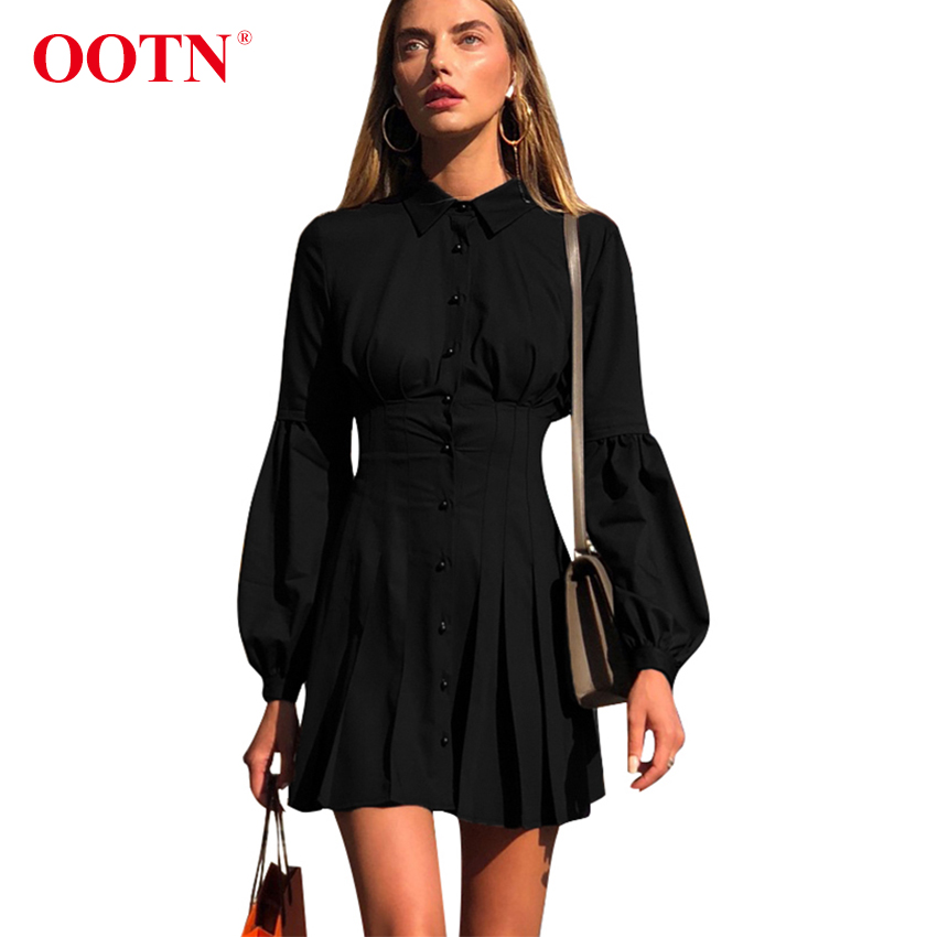 OOTN Lantern Sleeve Black Tunic Shirt Dress Women Long Sleeve Pleated A Line Dress Elegant Fashion Female Mini Party DressesDresses   -