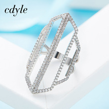 Cdyle Crystals From Swarovski Luxury Fashion Romantic Ring 925 Sterling Silver Women Geometric Jewelry Elegant Women Bijous New(China)