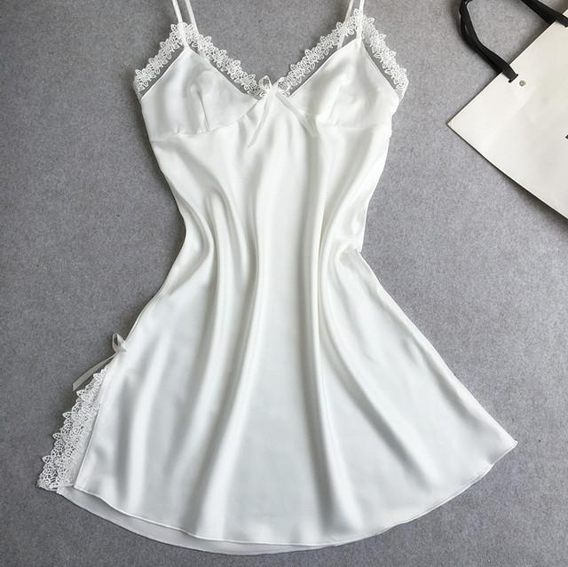 Das Mulheres novas Sólida Alcinhas Rendas de Seda Vestido De Roupão De Banho Sexy Charmoso Tentação Lingerie Nightgowns Sleepshirts SZ M L XL XXL