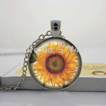 Collier tournesol, pendentif tournesol, Cabochon Photo en verre, breloque tournesol