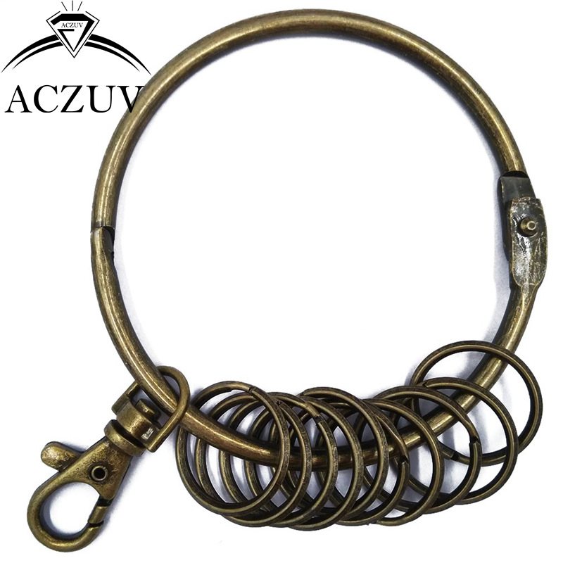 20pcs Antique Brass/Bronze Keychain Key Ring Accessories 80mm Big + Many 25mm Small Ring & 38mm Swivel Lobster Clasp BKR001
