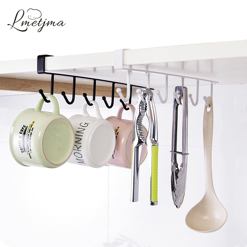 LMETJMA Stainless Steel Kitchen Storage Holders Racks Cupboard Hanging Hook  Shelf Dish Hanger Bathroom Organizer Holder KC0509 6