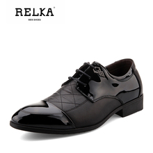 Купить с кэшбэком RELKA Vintage Luxury Men Shoes High Quality Genuine Leather Handmade Round Toe Soft Heel Shoes Solid Fashion Classic Men Shoe N8