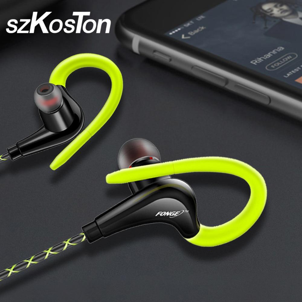 3.5mm Ear Hook Earphones Sport Running Headphones For IPhone Samsung Xiaomi Pocophone In-Ear Wired Waterproof Headsets With Mic