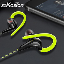 3.5mm Ear Hook Earphones Sport Running Headphones For iPhone Samsung Xiaomi pocophone In Ear wired Waterproof Headsets with Mic