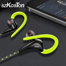 3.5mm oreille crochet écouteurs Sport en cours dexécution casque pour iPhone Samsung Xiaomi pocophone dans loreille filaire étanche casques avec micro