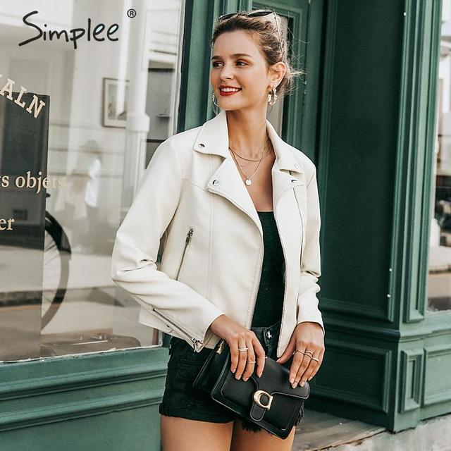 Simplee Autumn women faux leather jackets Basic zipper top short female winter coats Classic motorcycle biker outerwear jackets