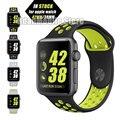 Свет Гибкая Дышащий Силиконовые Спортивные Группы для Apple Watch Серии 1 и 2 42 ММ 38 ММ, для Apple Watch Band черный Вольт Диапазон