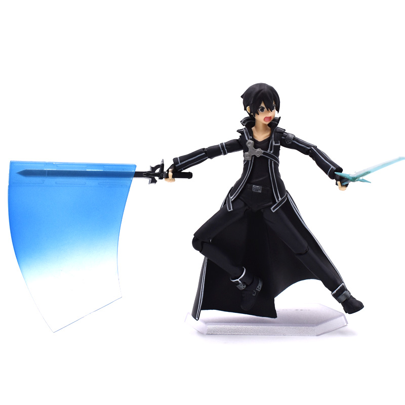 15cm Sword Art Online Action Figure SAO Kirito Figma 174 Model Doll With  Sword Weapon Free Shipping