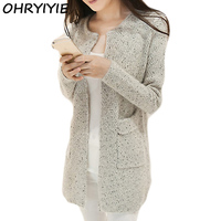 New Spring Winter Women Casual Long Sleeve Knitted Cardigans 2016 Autumn Crochet Ladies Sweaters Fashion Tricotado