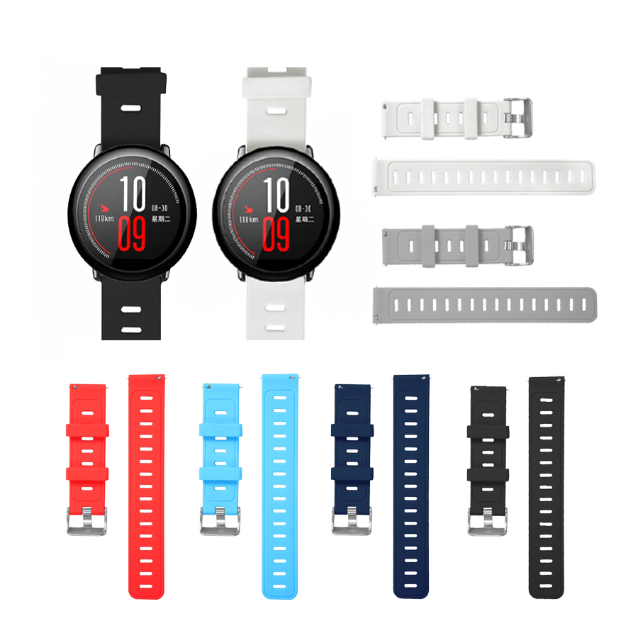 Strap for <font><b>Amazfit</b></font> Stratos 2S 22mm 20mm Watch Band for Xiaomi Watch 1 <font><b>2</b></font> Pure Color Replacement Bracelet for <font><b>Amazfit</b></font> Bip <font><b>Bit</b></font> Strap image