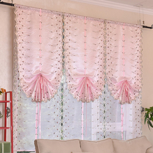 Urijk Tulle Curtains Solid Flower Rose Pink Curtains For Living Room Kitchen  Embroidered Roman Window Curtain