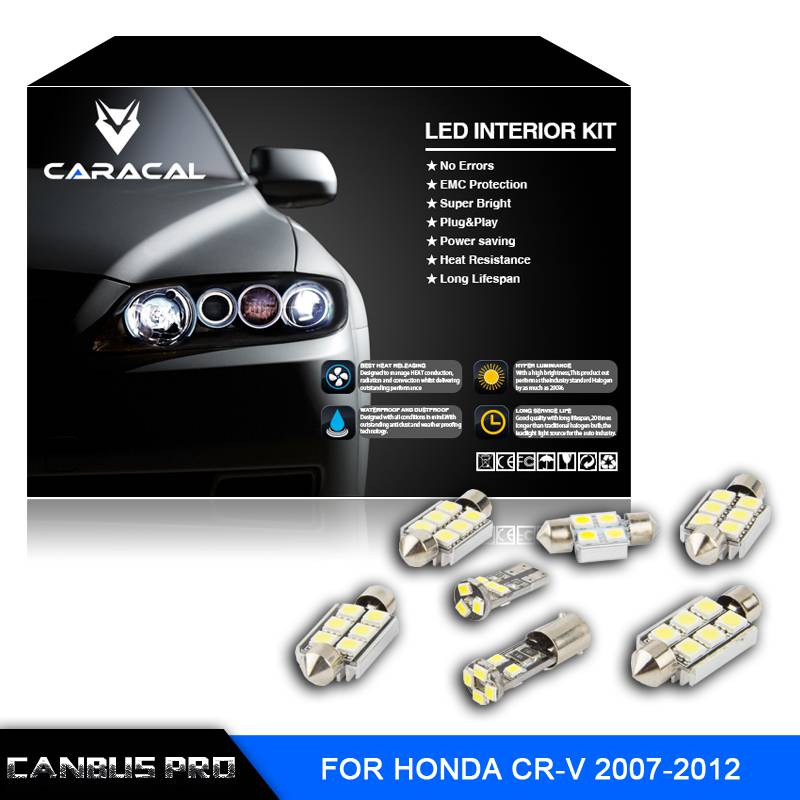 9  pcs Canbus Pro Xenon White Premium LED Interior Light Kit for Honda CR-V 2007-2012   with install tools cawanerl car canbus led package kit 2835 smd white interior dome map cargo license plate light for audi tt tts 8j 2007 2012