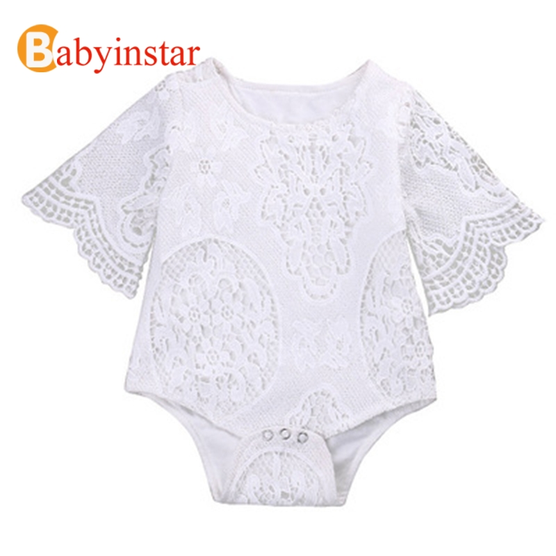 Babyinstar 2019 Summer Baby Girls Ruffles Sleeve White Lace   Romper   Baby Girl   Romper   Toddler Girl Jumpsuit New Born Baby Clothes