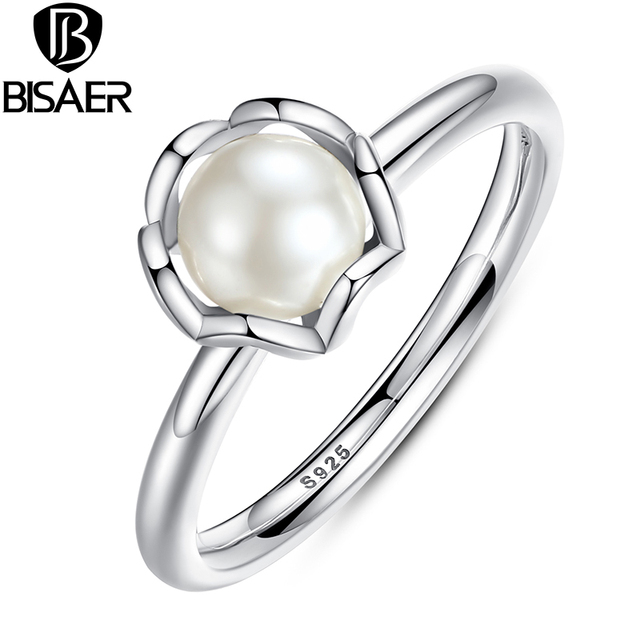 BISAER Authentic 925 Sterling Silver Ring Freshwater Pearl Female Finger Rings f