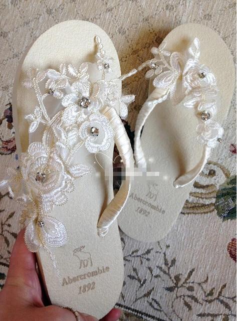 2016Handmade Milky Lace Flip Flops Beach Wedding Shoe Bridal Shoes Sweet Flop Crystal Flats