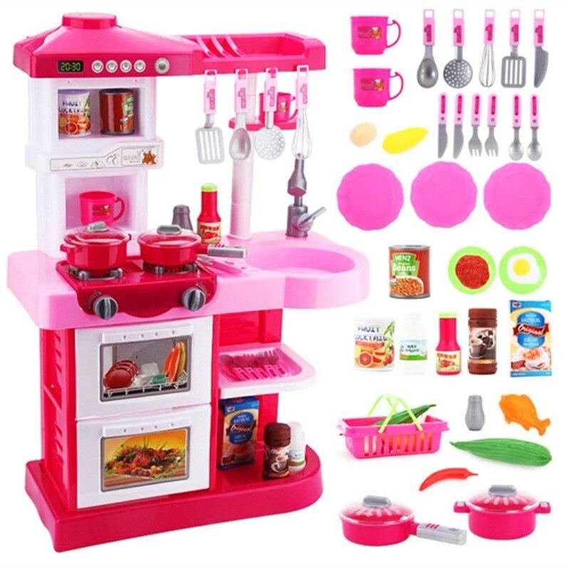 37 pièces Simulation cuisine jouets cadeau de noël pour les enfants avec de la musique \ peut être hors de l'eau \ Simulation flamme cuisine Playset
