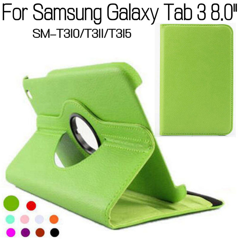 360 Degree Rotating Stand Smart PU Leather Cover for Samsung Galaxy Tab 3 T310 T311 T315 P8200 8.0 Tablet Case+Screen Film+Pen for samsung galaxy tab 3 8 0 sm t310 t311 t315 8 inch tablet 360 degree rotating universal pu leather cover case
