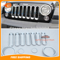 11pcs Chrome Turn Signal Headlight Trim Grille Cover Insert FOR Jeep JK Wrangler 07+ Chromium Styling Automobiles & Motorcycles -