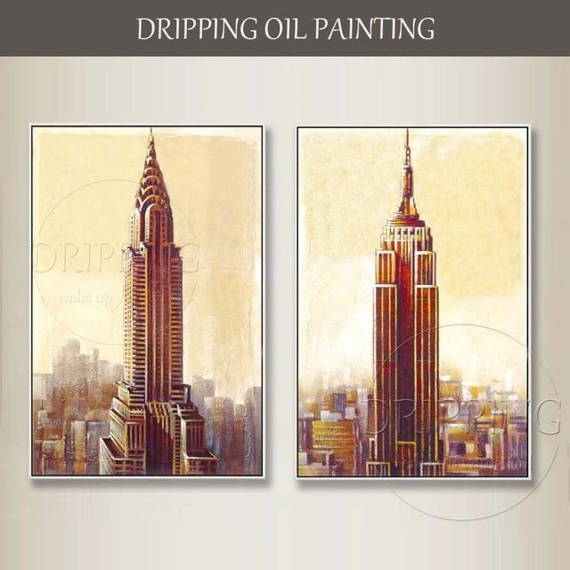 4366 49 De Descuentoartista Puro Pintado A Mano Hermoso Paisaje De Nueva York Chrysler Edificio Y Empire Estado Construcción Pintura Al óleo