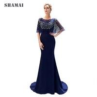 SHAMAI Women Long Floor Length Evening Dress Party Beading Mermaid Evening Dresses Classic Formal Evening Prom Gown