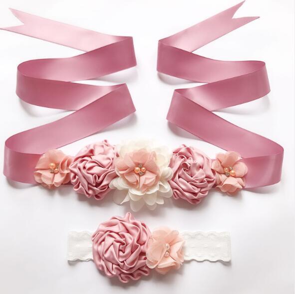 Fashion flower Belt,Girl Woman Sash Belt Wedding Sashes ... Quailman Belt Headband