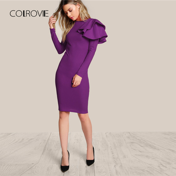 COLROVIE Purple One Side Tiered Ruffle Trim Party Dress Slim Elegant Bodycon Dress Long Sleeve Women Dresses