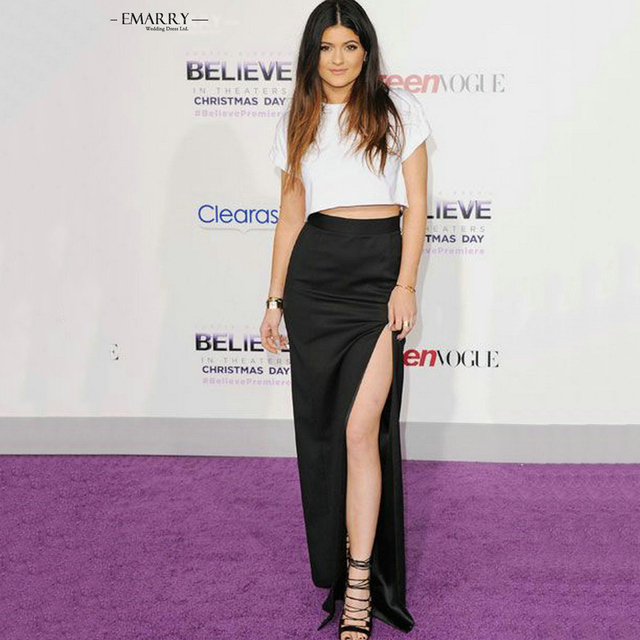 5d6d71a67ac Caliente Kylie Jenner blanco y negro asimétrico celebridad vestidos de  manga corta de lado alto Split